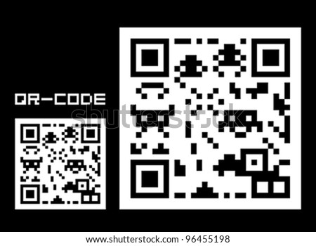 Fake QR-code with space creatures - stock vector