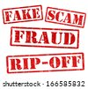 Fake, Scam, Fraud, Ripoff, grunge rubber stamps on white, vector illustration - stock photo