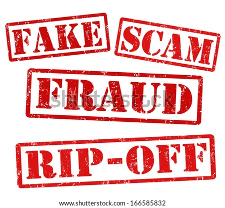 Fake, Scam, Fraud, Ripoff, grunge rubber stamps on white, vector illustration - stock vector