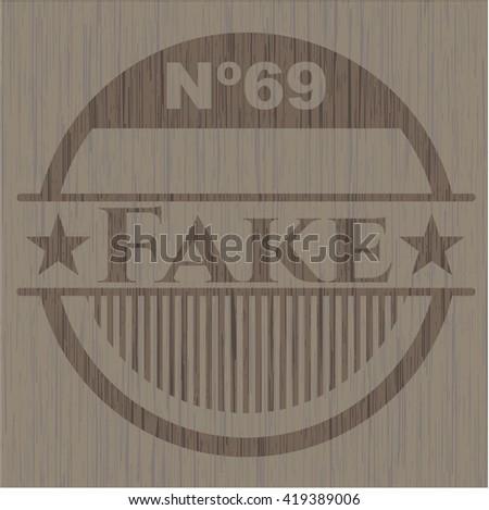 Fake wooden emblem. Retro - stock vector
