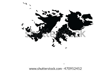Falkland Islands map black color