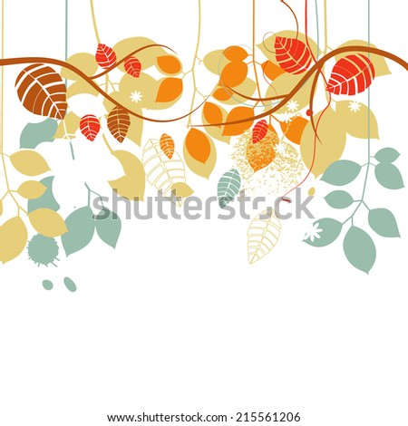 Fall background, tree branches and leaves in bright colors over white - stock vector