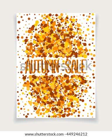 Fall color vector greeting card of orange scatter circles.