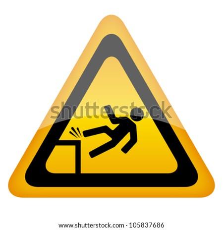 Fall danger warning sign, eps10 illustration - stock vector