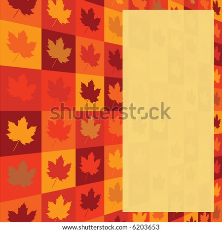 fall leaf pattern with yellow rectangle for writing an note - stock vector