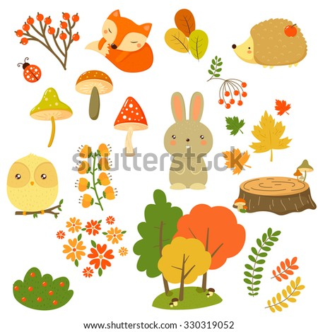 Fall nature elements and animals in flat design, vector illustration - stock vector