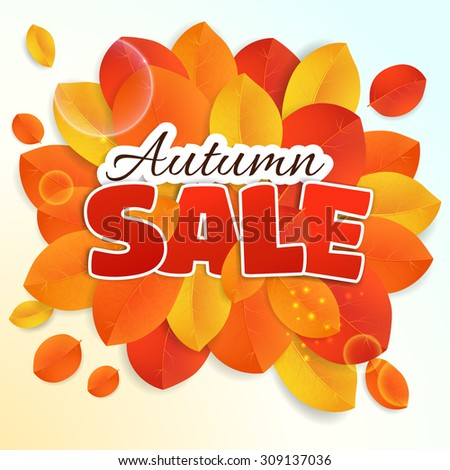 Fall sale design for. Can be used for flyers, banners or posters. Vector illustration with colorful autumn leaves