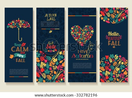 Fall set. Leaves composition.Banners of autumn season. - stock vector
