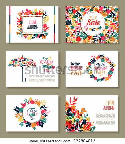 Fall set. Medal and leaves composition.Banners of autumn season. - stock vector
