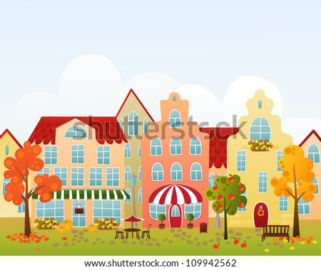 Fall town street with shop, cafe and hotel - stock vector