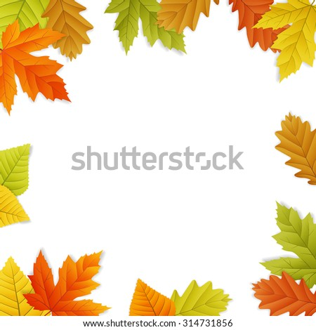 Fall vector leaf border illustration isolated from background. transparent. - stock vector
