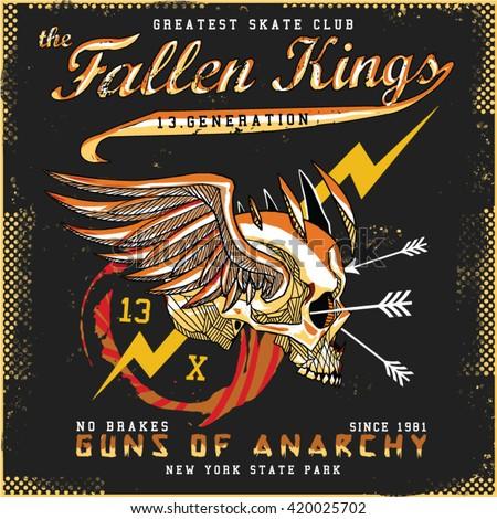 fallen kings tee graphic - stock vector