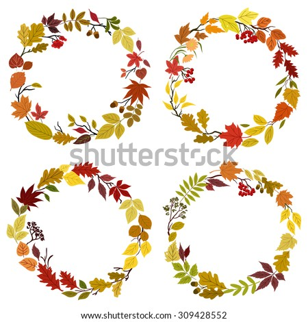 Fallen leaves round frames and borders composed by colorful tree and bush branches, forest flowers, acorns and viburnum isolated on white background - stock vector