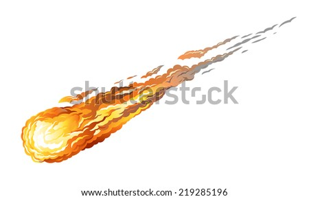 Falling asteroid with long fiery tail, isolated on white - stock vector