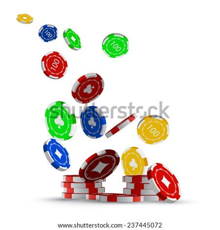 Falling chips, the concept of a casino. - stock vector
