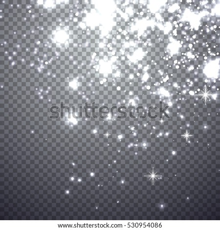 Falling christmas shining snow. Illustration isolated on a transparent background. Graphic concept for your design