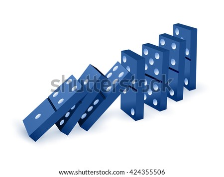 Falling dominoes. Blue Icon game of dominoes. Board game Domino. icon vector for web.  - stock vector
