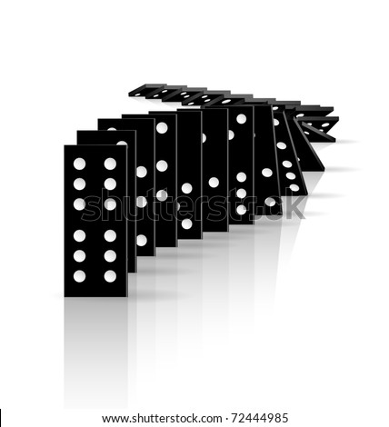 Falling dominoes, eps10 vector - stock vector