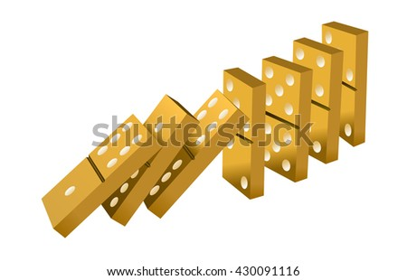 Falling dominoes gold. Gold Icon game of dominoes. icon vector for web. Push domino. - stock vector