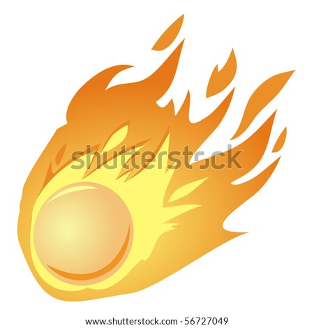 falling fire ball - stock vector