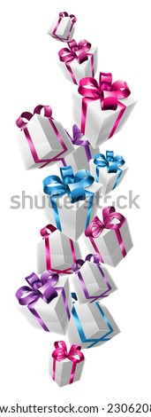 Falling gifts design of lots of nicely wrapped gifts or presents cascading down the page. - stock vector