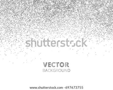 Falling Glitter Confetti Vector Silver Dust Stock 697673755