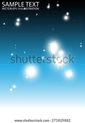 Falling glittering sparkles blue background vector template - Vector blue background  sparkle fall in space - stock vector