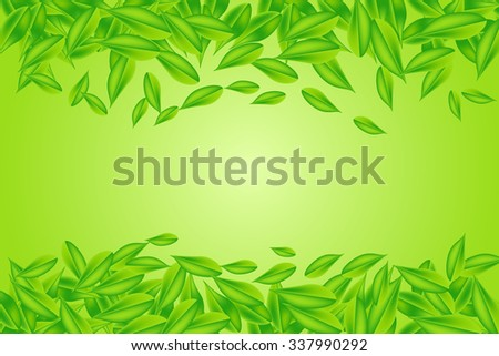 Falling green leaves are forming the lower and upper edge vector. All is on the green gradient background with the light in the center. - stock vector