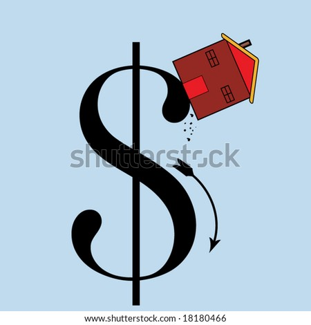 falling house prices concept - stock vector