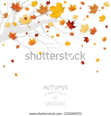 Falling leaves and branch silhouette isolated on white background - stock vector