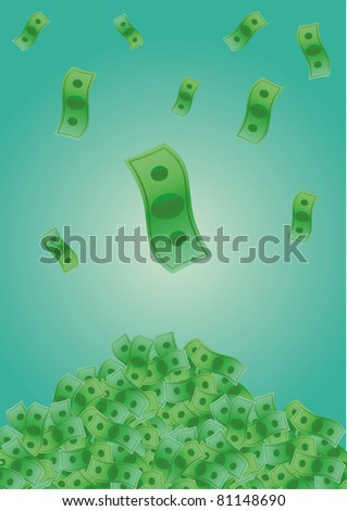 Falling Money into big pile of cash - stock vector