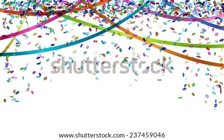 falling oval confetti and ribbons with different colors - stock vector