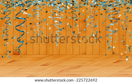 falling oval confetti with blue color in wooden room - stock vector