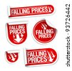Falling Prices stickers set. - stock photo