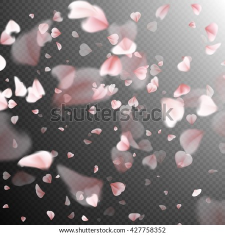 Falling sakura pink petals background. EPS 10 vector file included