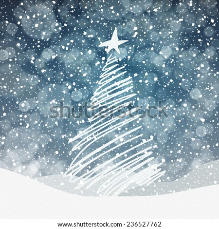 Falling Snow. Christmas Background with Christmas Tree Symbol - stock vector