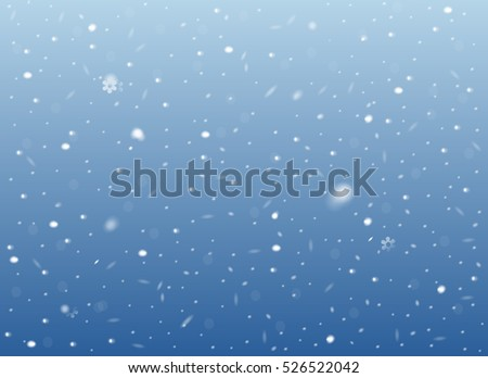 Falling snow on blue background. Vector image. Abstract snowflake backdrop. Winter composition with glowing elements. Snowfall in motion. Template in seasonal style for your design. Snowy horizontal