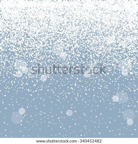 Falling snow on the blue background, vector - stock vector
