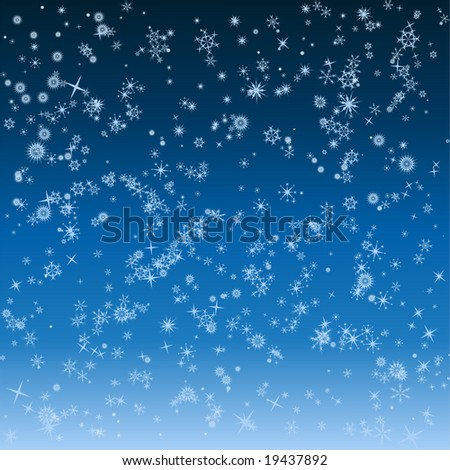 falling snowflakes winter background - stock vector
