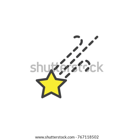 Falling star filled outline icon line stock vector 767118502 falling star filled outline icon line vector sign linear colorful pictogram isolated on white sciox Gallery