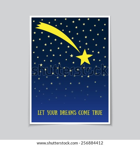 Falling star poster or postcard template - stock vector