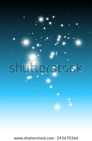 Falling stars background vector over blue background template - Vector abstract blue sparkle background illustration template - stock vector