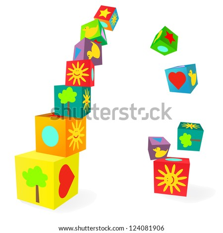 Falling tower of colorful childish play cubes - stock vector