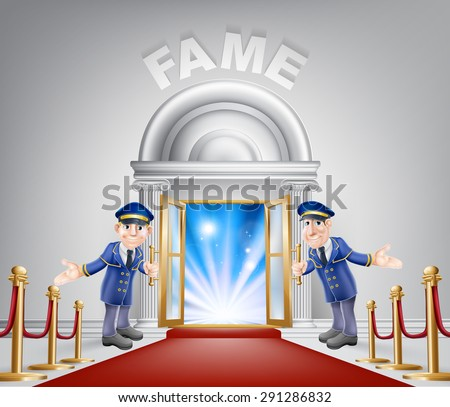 Fame door concept of a doormen holding open a door at a red carpet entrance with velvet ropes. - stock vector