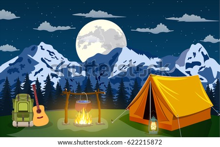 Family Adventure Camping Evening Scene Tent Campfire Backpack With Giutar Pine Forest