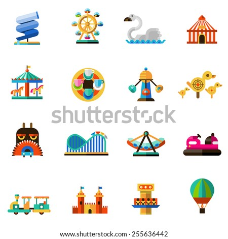 Family amusement recreational fun park decorative icons set isolated vector illustration - stock vector