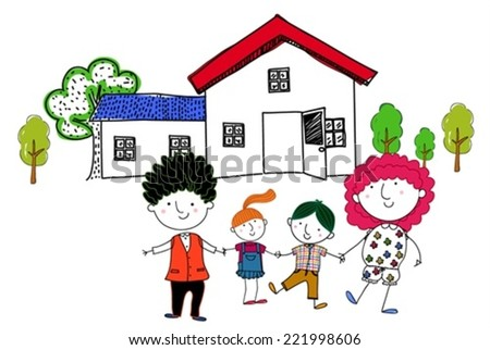 Family and house - stock vector
