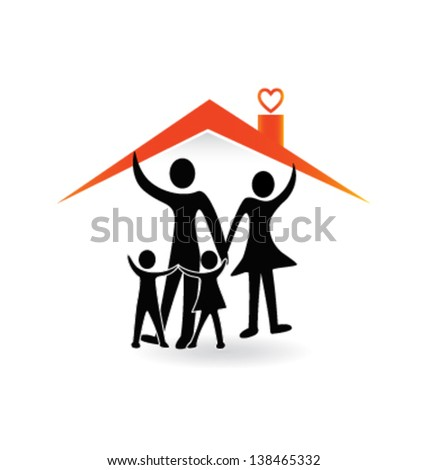 Family and house of love - stock vector