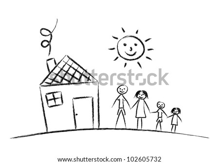 Family and house on white background - stock vector