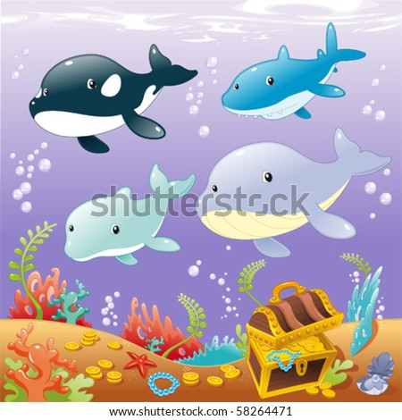 Family animals in the sea. Funny cartoon and vector illustration - stock vector